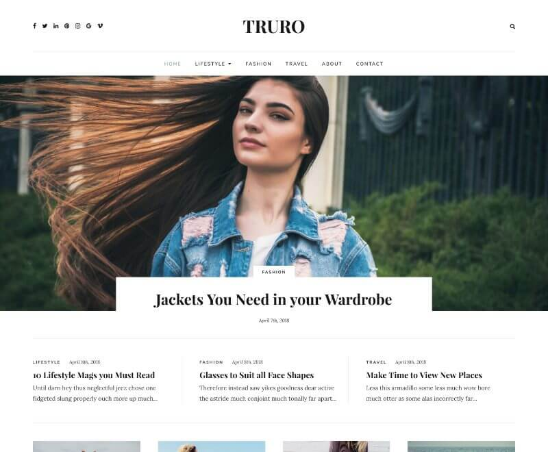 Truro - A lifestyle blogging theme for WordPress